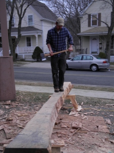 Lee working on hewing a gunstock post from oak