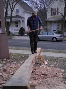 Lee working on hewing a gunstock post from oak