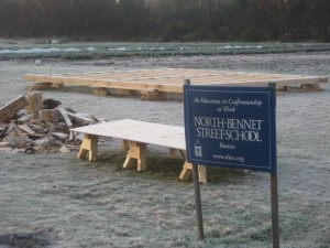 NBSS Sign in front of reconstructed floor system