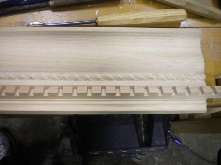 Placing the dentil so it matches with the original sample