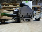 Festool Domino XL with indexing fence ready to join a table top