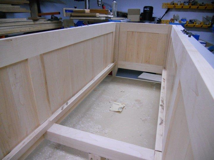Inside of bench, about to install the bottom