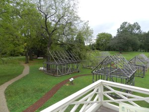 Re-constructed timber frames of some of the outbuildings