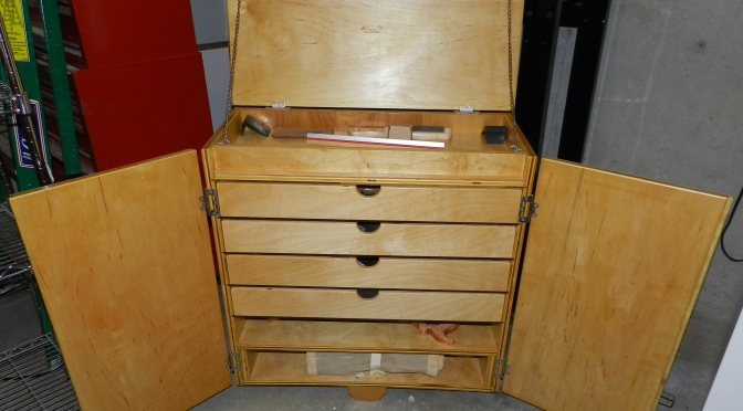 Front view of the tool cart with doors open
