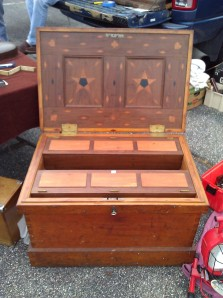 Beautiful Tool Chest from 1849 with extensive inlay work, divided tills, half lock etc