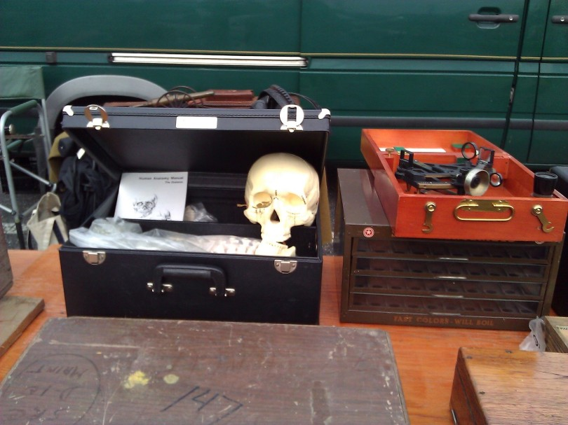 You never know what you will find in a chest here -- including a human skeleton (anatomy model)