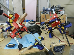 You can never have too many clamps, especially when clamping up a blank wherein you do not want to see any glue lines.