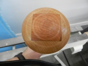 End of mallet with finish applied