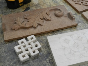 Celtic knot and floral carving