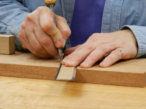 Demonstrating how to make the first cuts