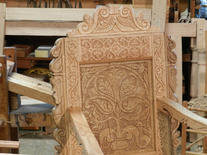 Close up of carved chair