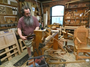 Peter turning at his pole lathe