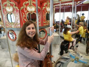 Alyssa riding the carousel with me.