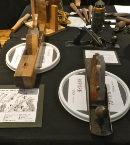 Very nice display showing how wood and metal planes can be restored