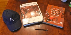 Books and turned pen we won in the silent auction. The had I bought from the Lost Art Press