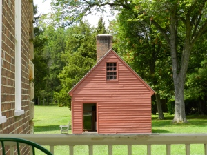 Schoolhouse as viewed from front portico of the main house.