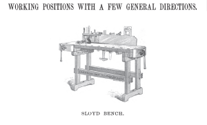 Larsson IMproved Adjustable Sloyd Bench as seen in 'A Textbook Of Working Models Of Sloyd' By Gustaf Larsson