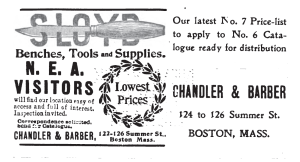 Chandler and Barber Sloyd System Supplier Ad from January 1904 Sloyd Record