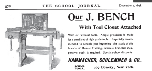 Hammacher Schlemmer Sloyd Training Bench from 1898 ad in the School Journal