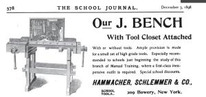 Hammacher Schlemmer Sloyd Training Bench from 1898 ad in the School Journal