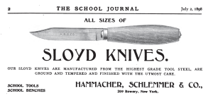 Hammacher Schlemmer Sloyd Knife Ad -- The School Journal July 2, 1898