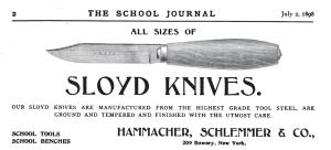 Hammacher Schlemmer Sloyd Knife Ad -- The School Journal July 2, 1898