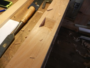Chopping the mortise by hand