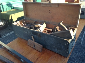 Old dovetailed tool chest full of molding planes