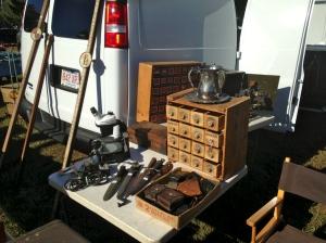 Nest of drawers, survey equipment, knives etc