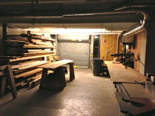 Loading dock and wood rack in Preservation Carpentry