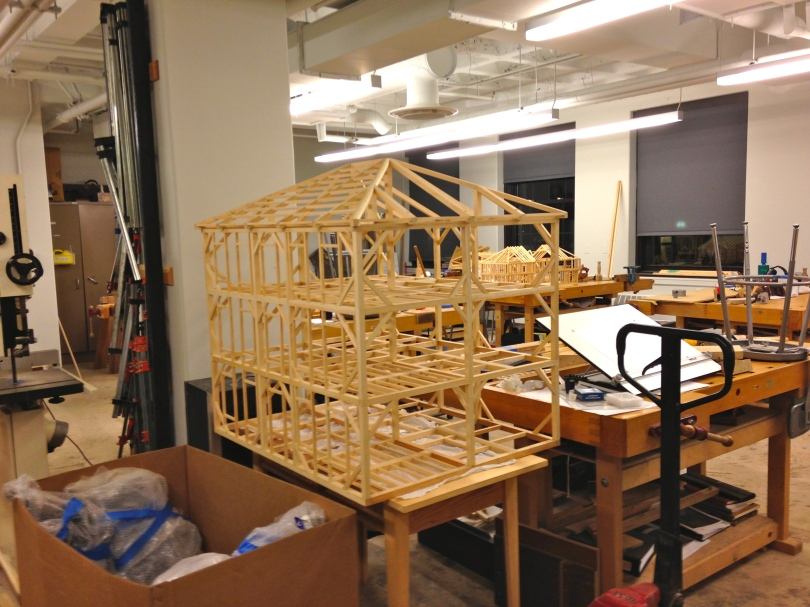 Timber framing models in the second year Preservation Carpentry Bench Room