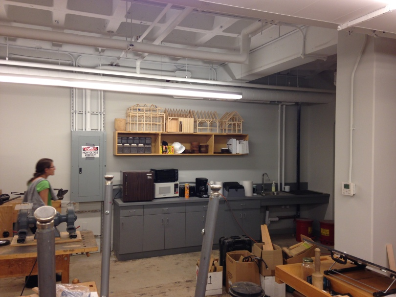 More models and kitchenette in the Preservation Carpentry Classroom
