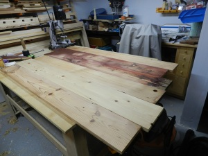 Laying out the boards to even out the texture and grain profile.