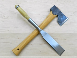 Symbol of a Joiner -- Axe for Rough Work and Chisel for Fine Work and Joinery