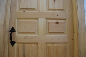 Clinched cut nails in a period door reproduction