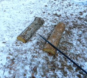 De-barking the log on the right. A metal post hole digging bar makes a good impromptu barking spud.