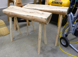Completed benches. They can also work well as a pair of saw horses.