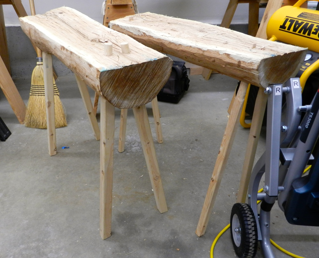 Original bench on the right, revised model on the left