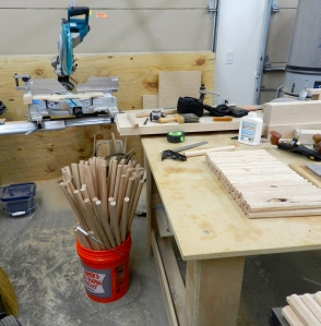Chopping several blanks at a time on the chop saw using a stop block