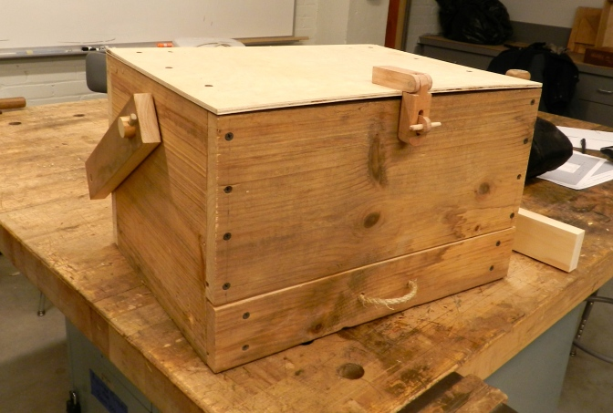 Closed toolbox with oak hasp