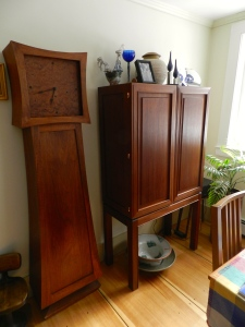 Grandmother Clock and Bar Cabinet