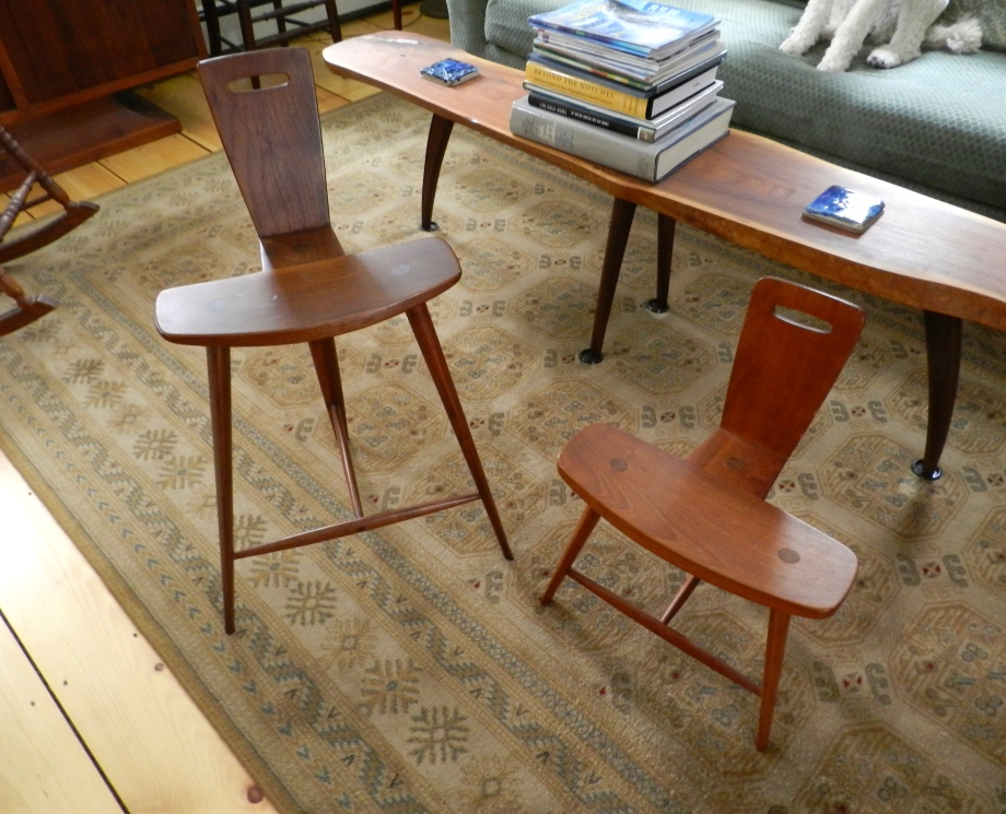 Tage Frid's iconic 3 legged stools and natural edge coffee table