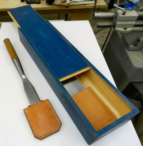 Sliding top timber framing chisel box