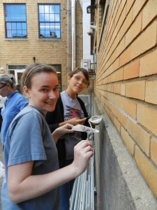 Felice and Jamie repointing the back of the school