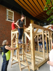 Jennifer using the 'Commander' and Susan steadying the ladder.