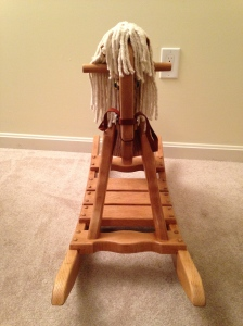 Front View of Oak Rocking Horse