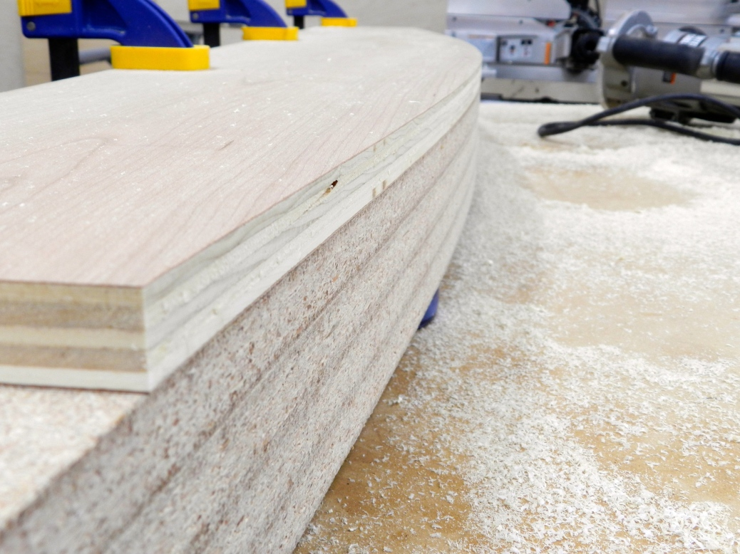 Using the form with a templating router bit to copy the curve