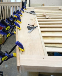 Using dowels to help with clamping of the curved cove moldings