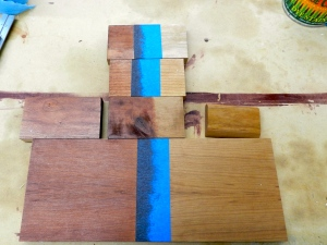 Testing the recipe with a range of woods on the project