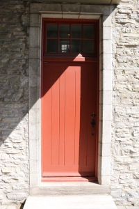 Beautiful 'bead and butt' paneled door to go with those shutters